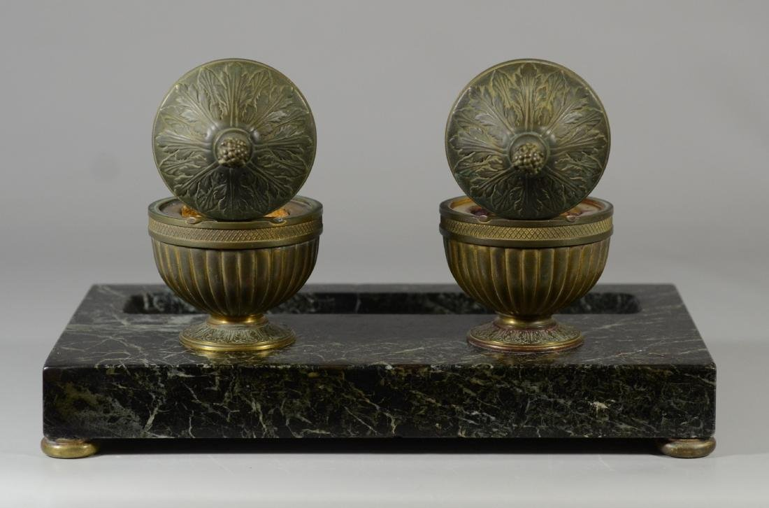 Antique French bronze and marble inkwells - 4