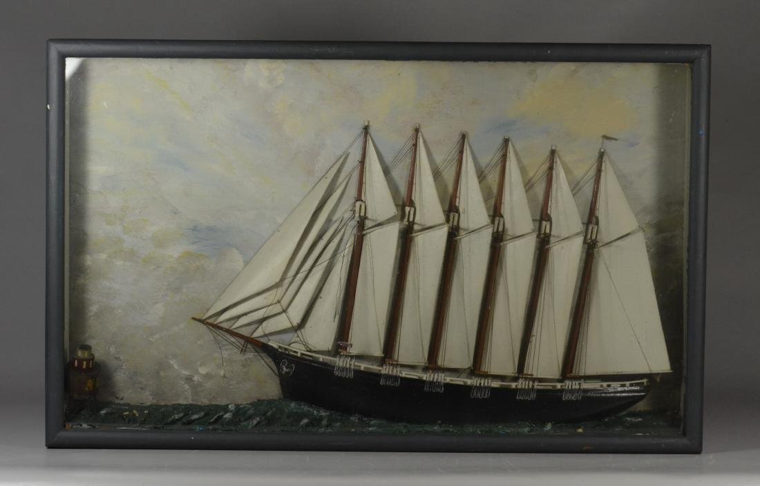 Antique half ship model diorama, carved and painted