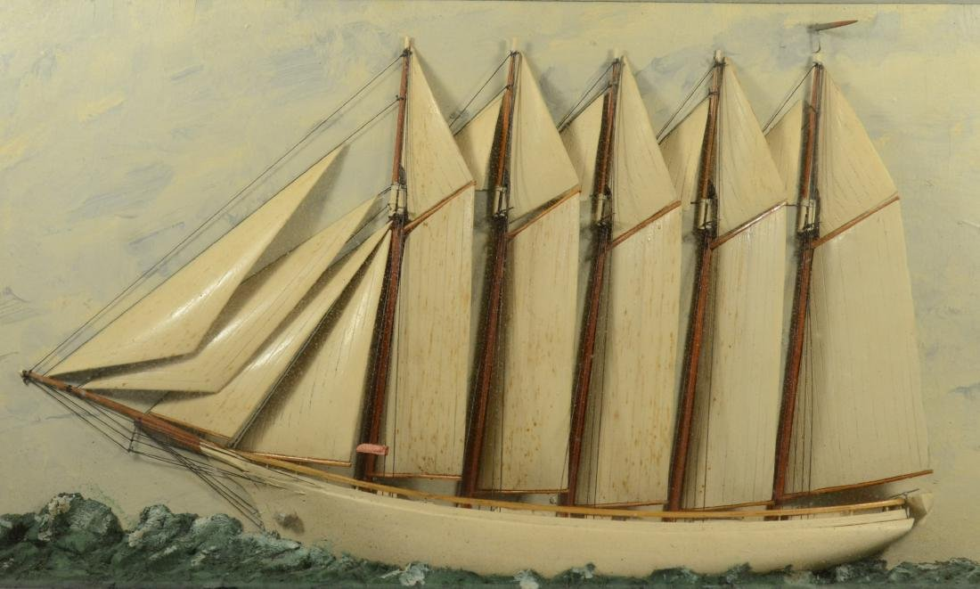 Antique half ship model diorama, carved and painted - 2