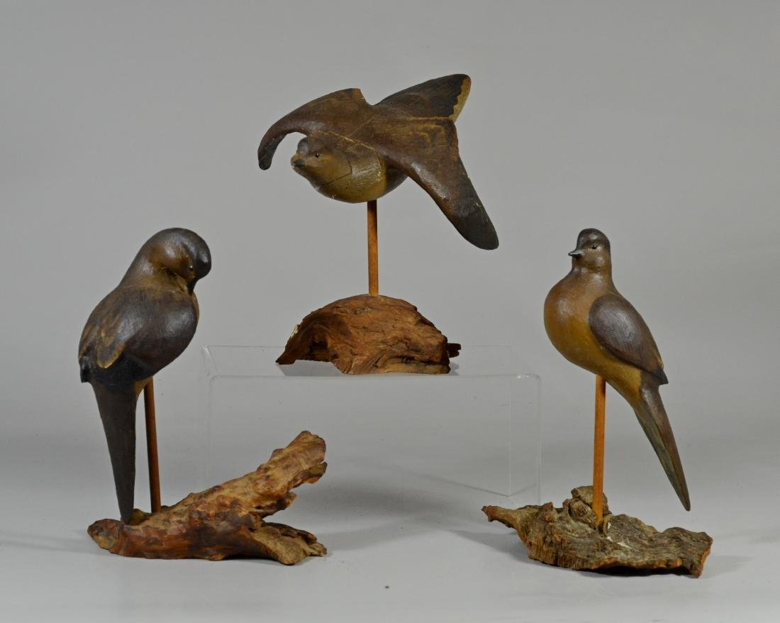 3 Carved and painted wood shore birds