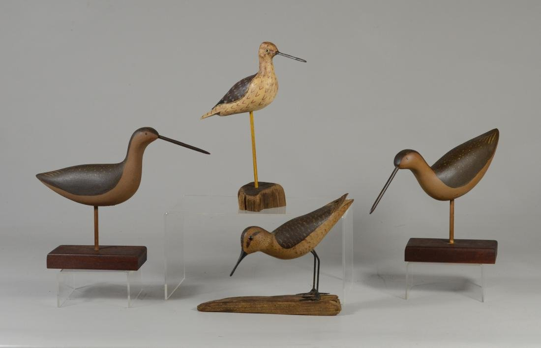 4 Carved and painted shore birds