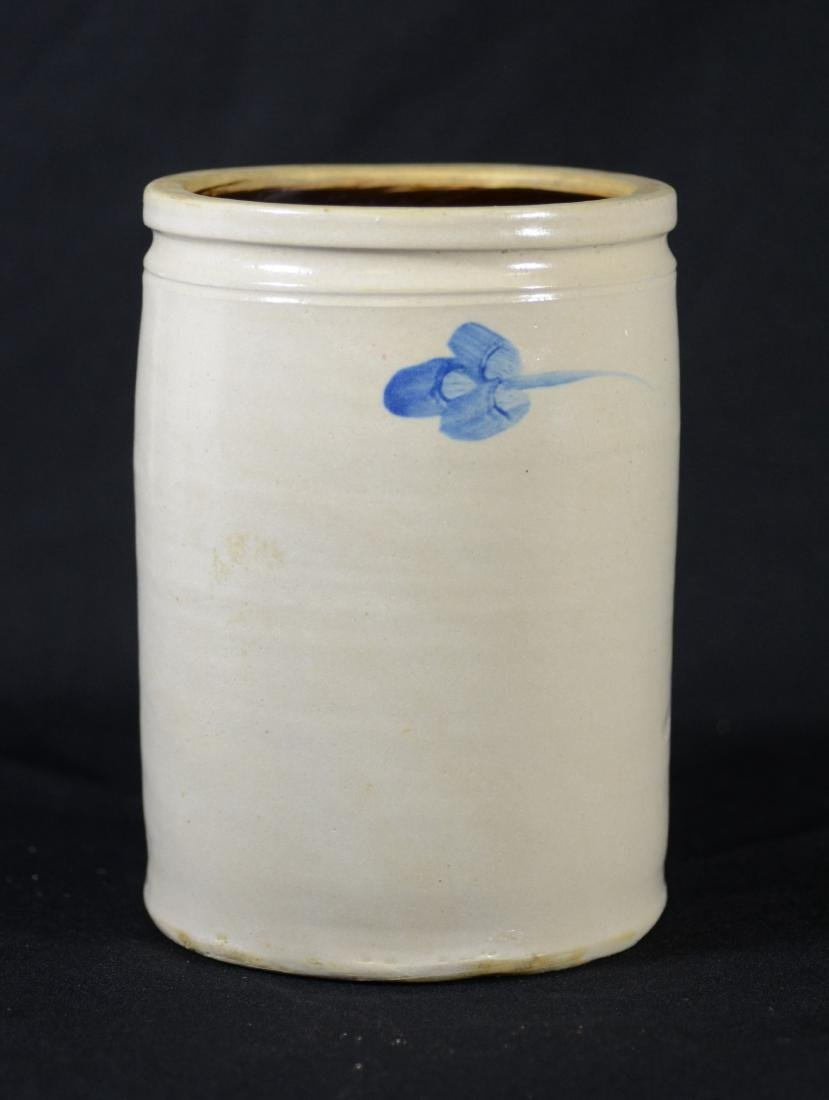 Blue floral decorated stoneware crock