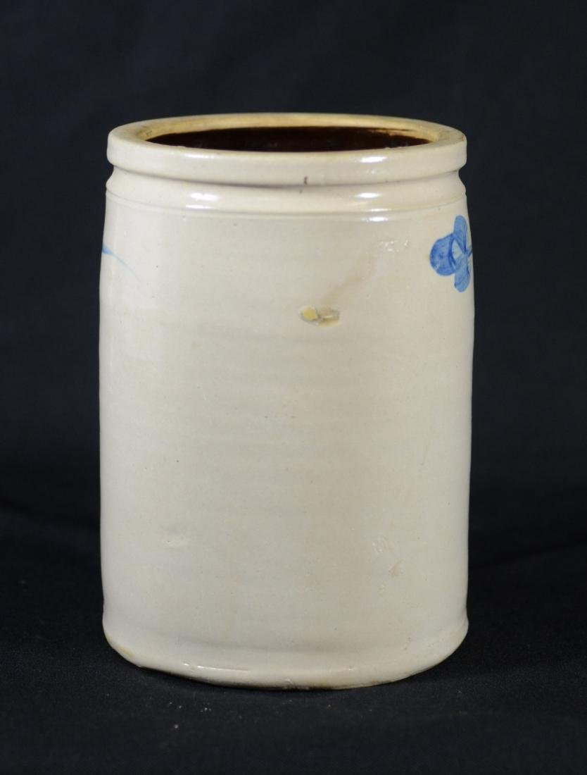 Blue floral decorated stoneware crock - 2