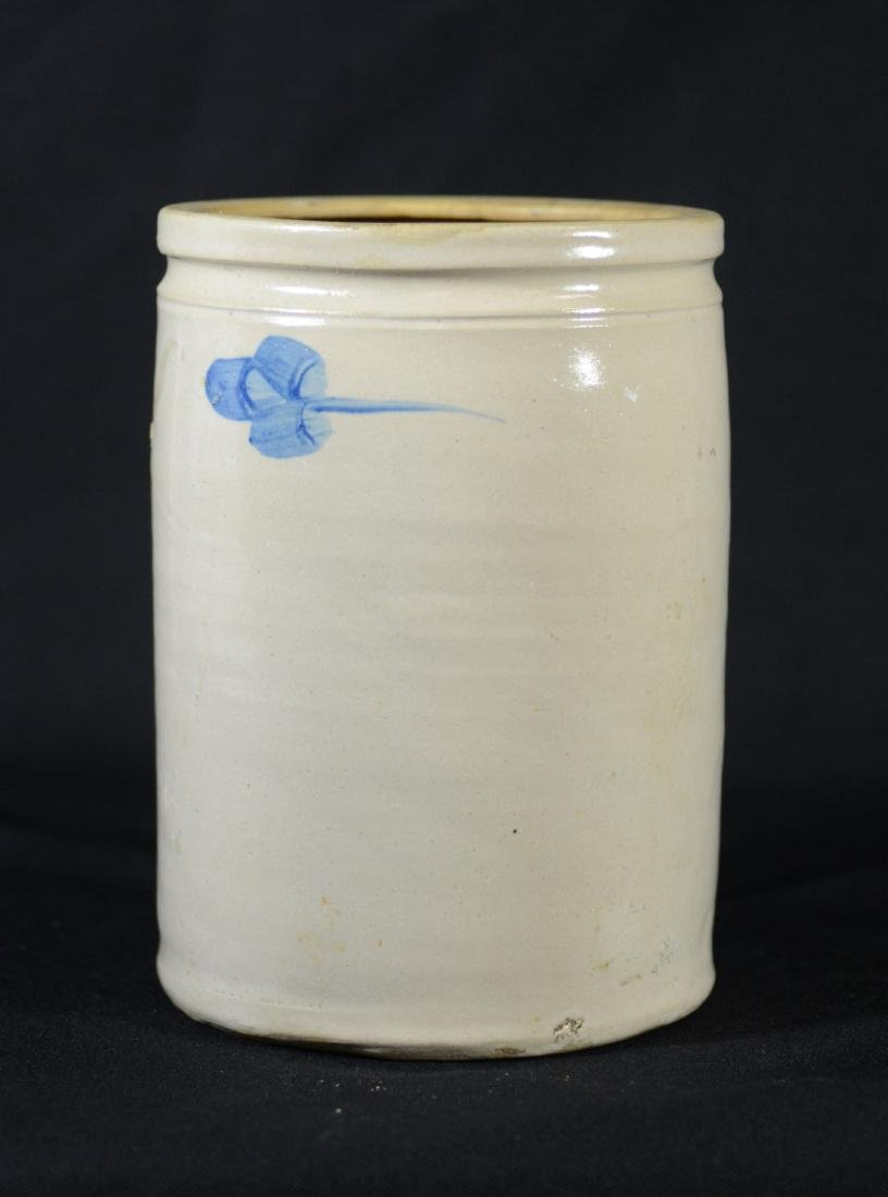 Blue floral decorated stoneware crock - 3