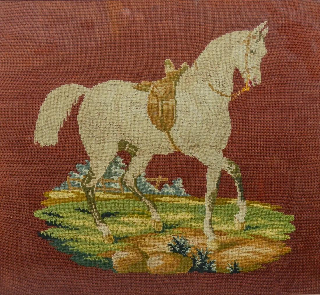 Large vintage framed needlepoint of a horse