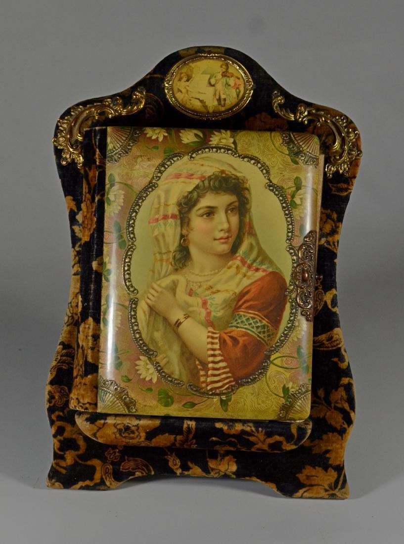 Victorian celluloid photo album on stand