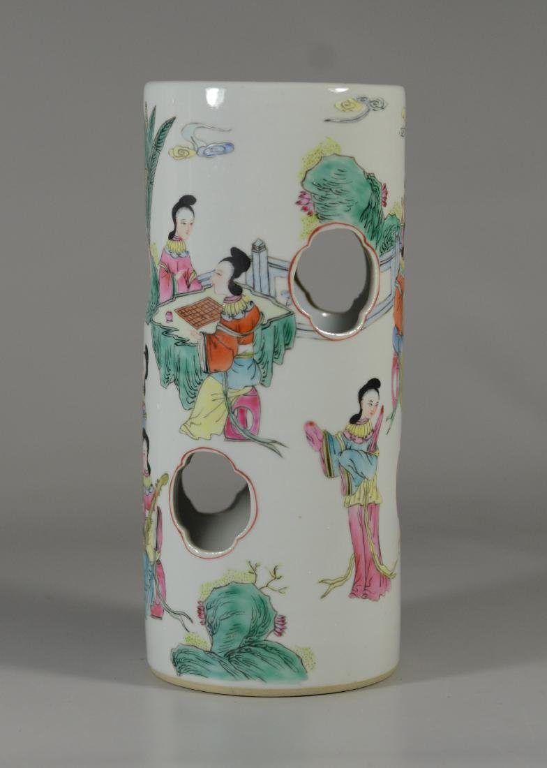 Chinese porcelain hat stand decorated with maidens