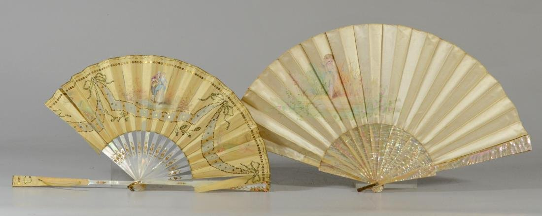 (2) Victorian Mother of Pearl and Silk Fans