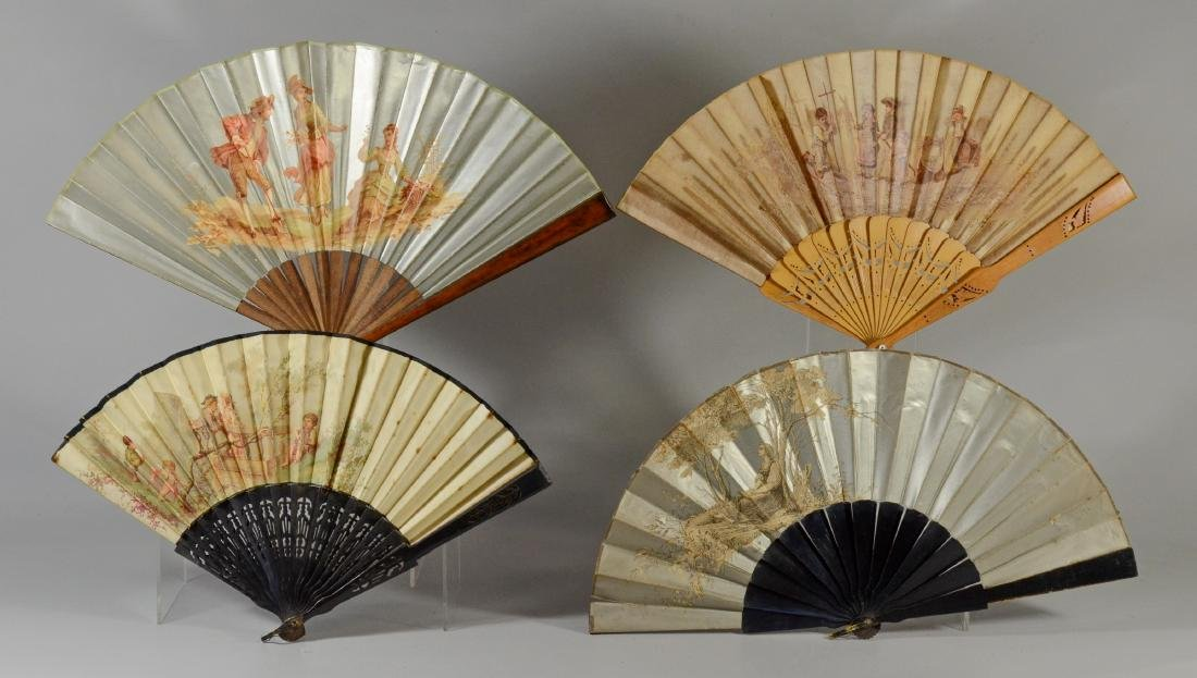 (4) Hand Painted and Lithographic Fans garden scenes