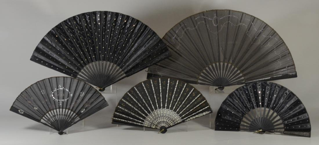 (11) Victorian Mourning Fans: varying condition