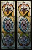 Pair doors w/ leaded stained glass panels