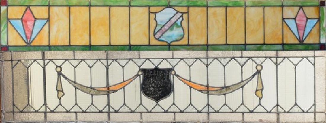 (2) framed leaded glass panels