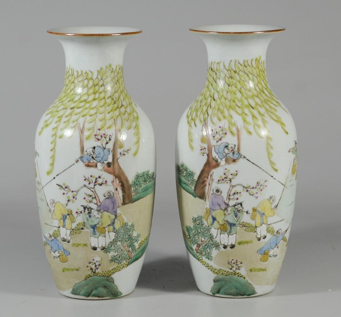 Pair of Chinese Porcelain vases depicting fisherman