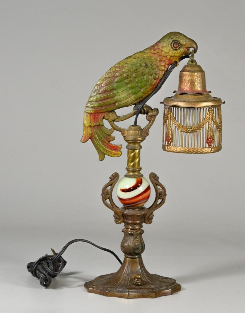 Art Deco parrot form boudoir lamp, birdcage shade