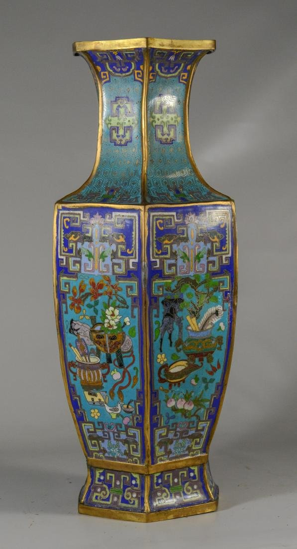 Chinese six panel cloisonne vase; floral decoration