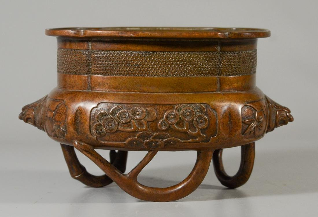 Chinese Bronze Censer, oval form with lion head