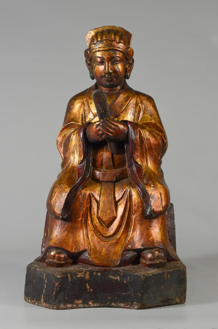 Chinese carved and gilt wood figure of an elder