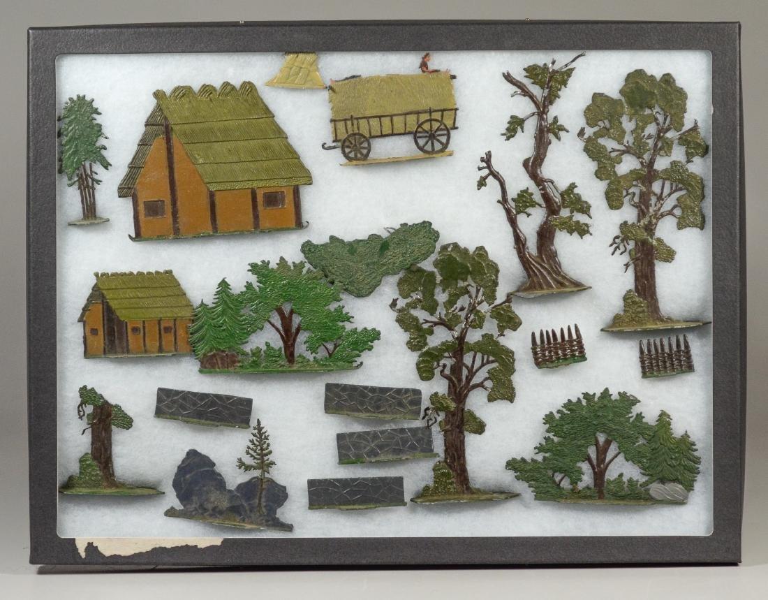 19 German Zinn Shrubs, trees and buildings
