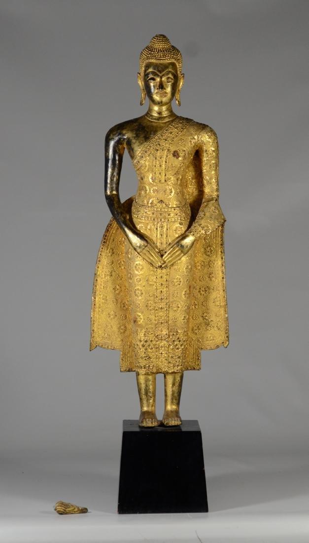 Asian gilt bronze statue of Buddha