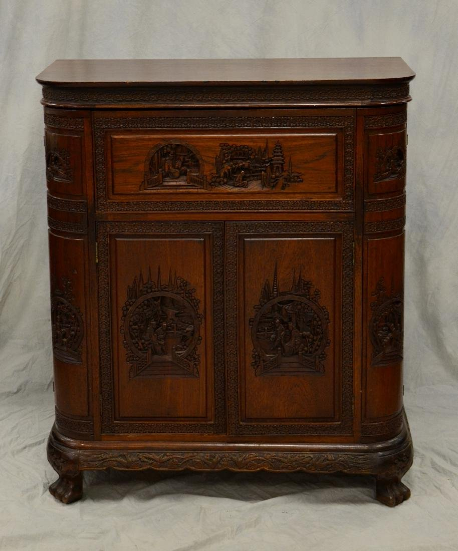 George Zee & Co Asian style carved walnut bar cabinet