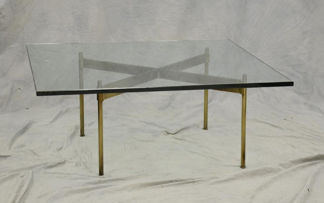 Milo Baughman Style X-Base glass top coffee table, b