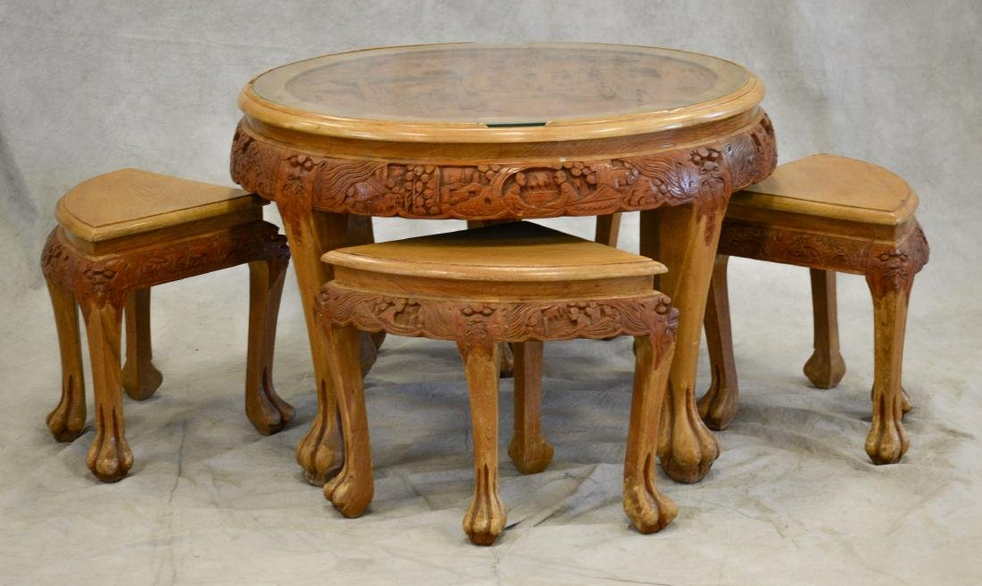 5-Piece Asian Style Carved Round Nesting Table