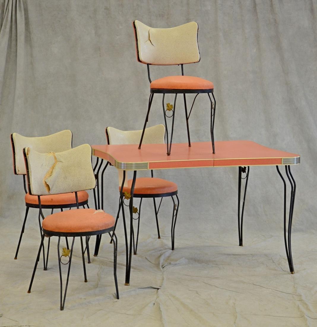 (5) pc Art Deco Coral Laminate Dining Room Set