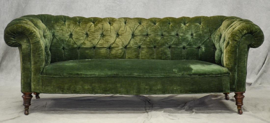 English Tufted Chesterfield Sofa att. Howard & Son