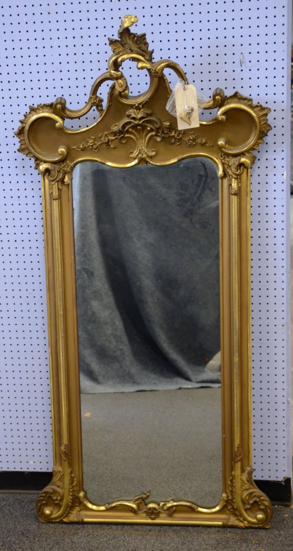 French style gilt carved Mirror, Shell motif on cres