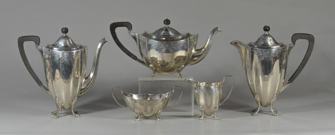 5 pc English Birmingham sterling silver tea set
