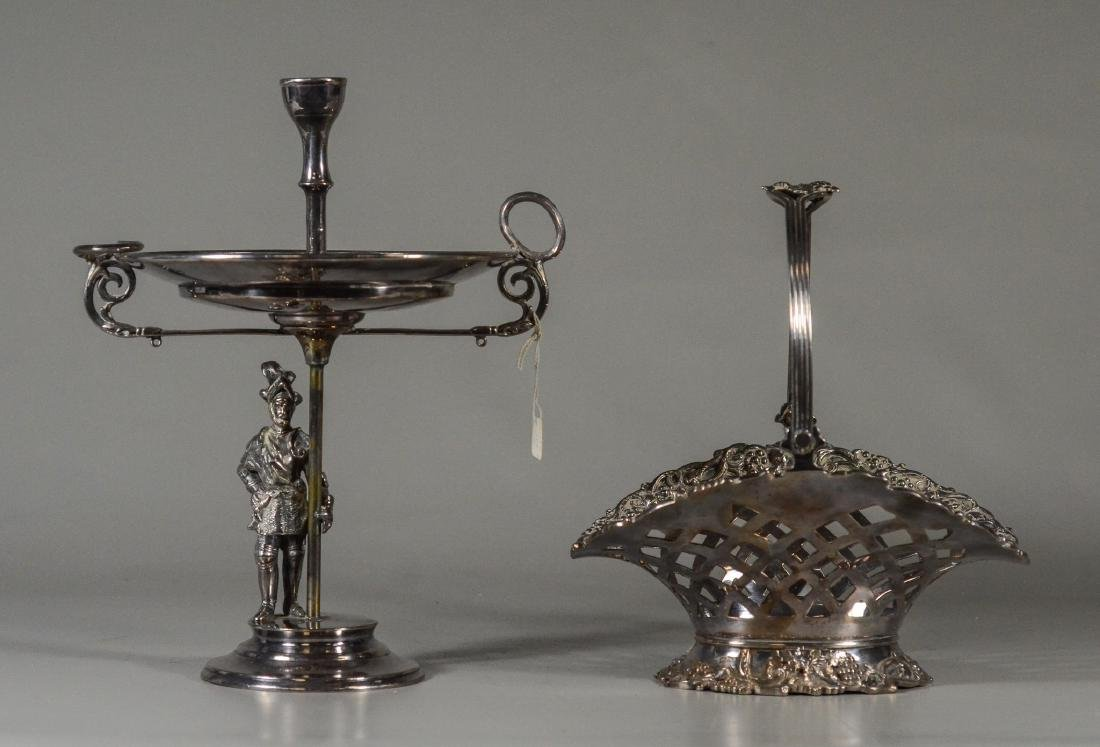 (2) Pcs plated silver, incl handled basket
