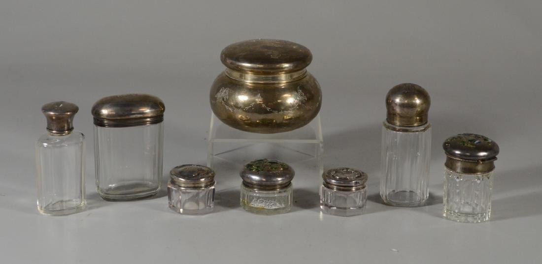 (8) Sterling topped dresser jars