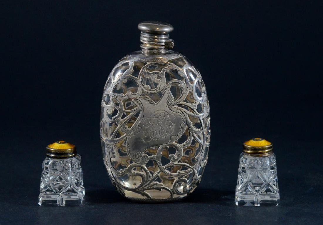 Whiting sterling overlay flask & crystal shakers