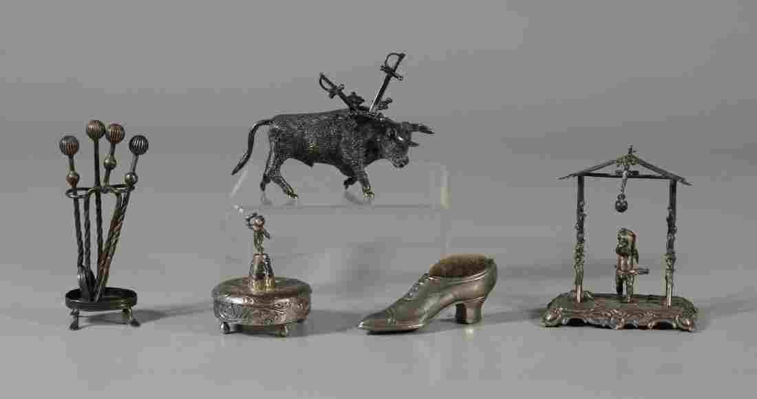 5 pcs miniature silver, incl 800 cherub form box