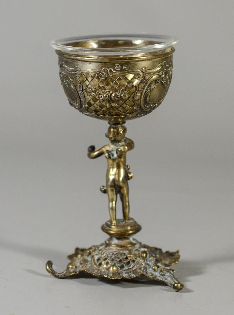 Continental silver figural cup with clear glass insert - 2