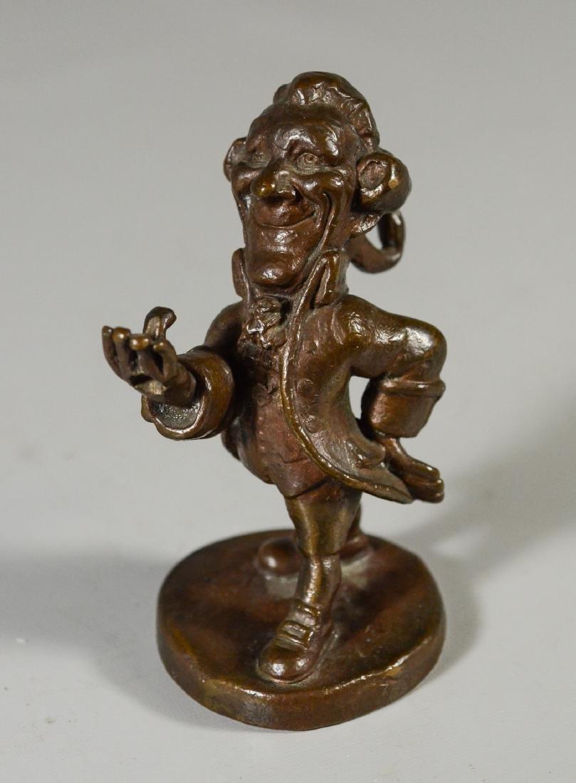 """Bronze Dandy figural watch holder, 5"""" high, unmarked"""