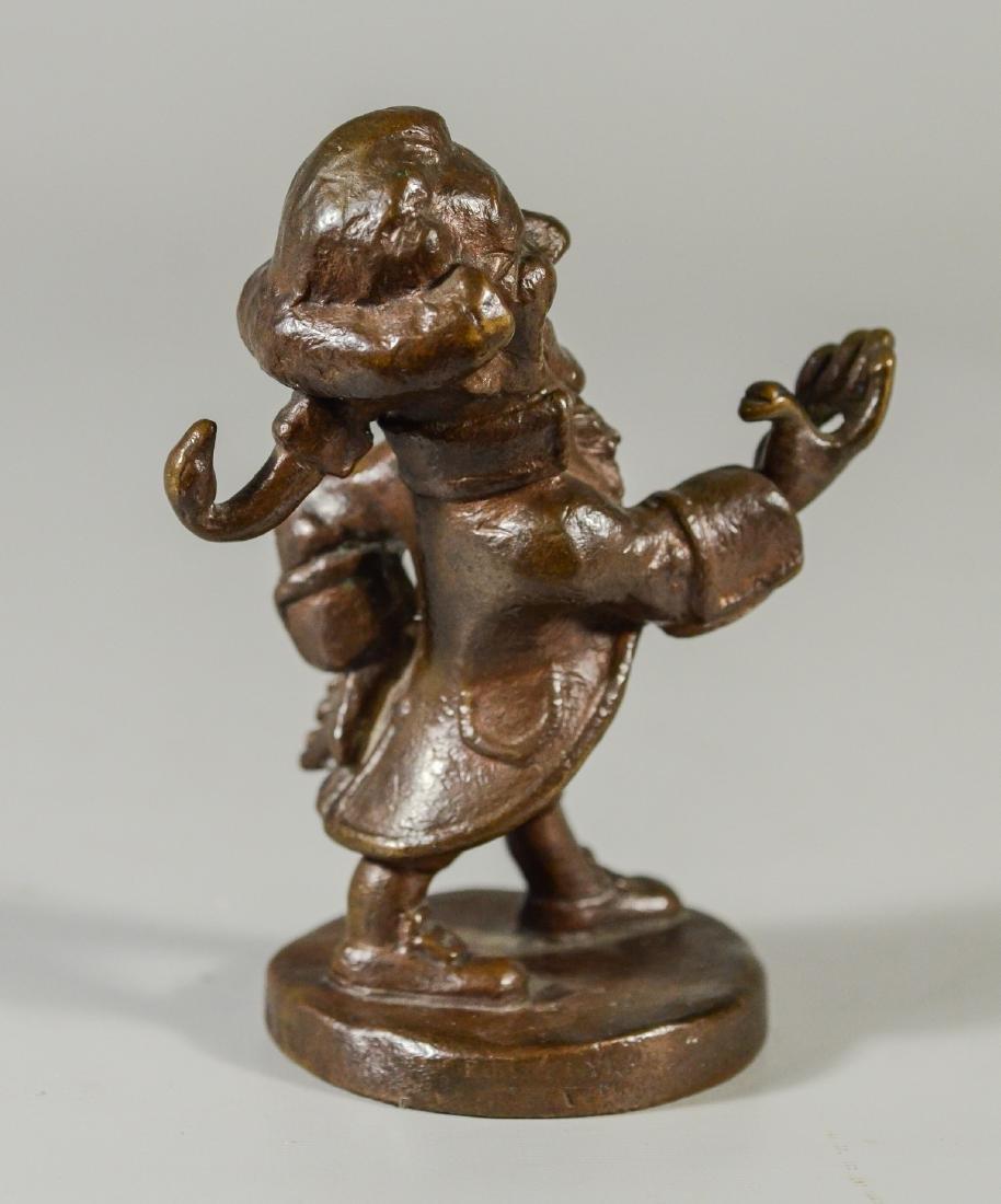 """Bronze Dandy figural watch holder, 5"""" high, unmarked - 3"""