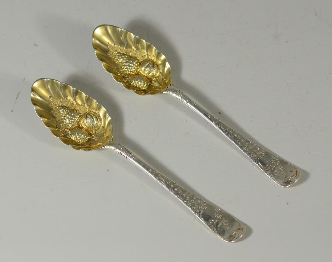Pr English sterling engraved repousse berry spoons