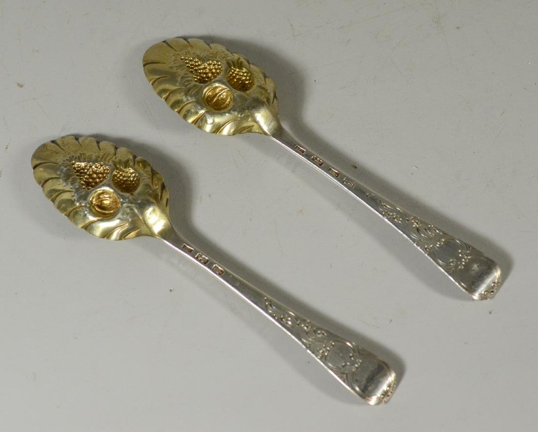 Pr English sterling engraved repousse berry spoons - 2