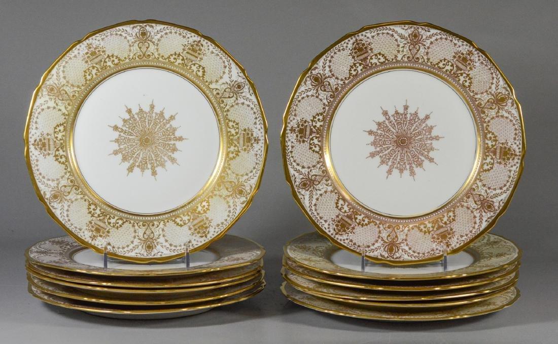 12 T&V Limoges Warrin gold trim dinner plates