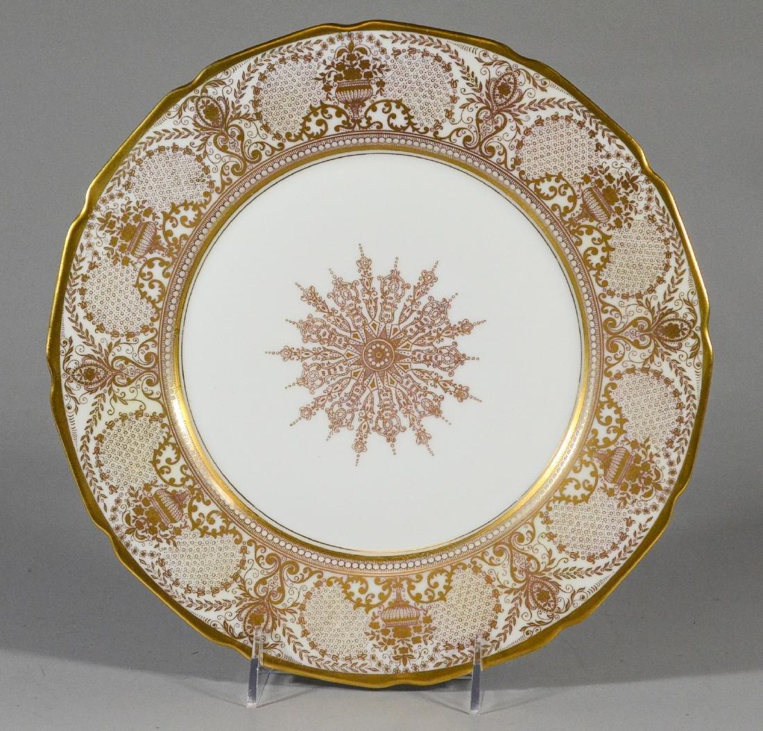 12 T&V Limoges Warrin gold trim dinner plates - 4