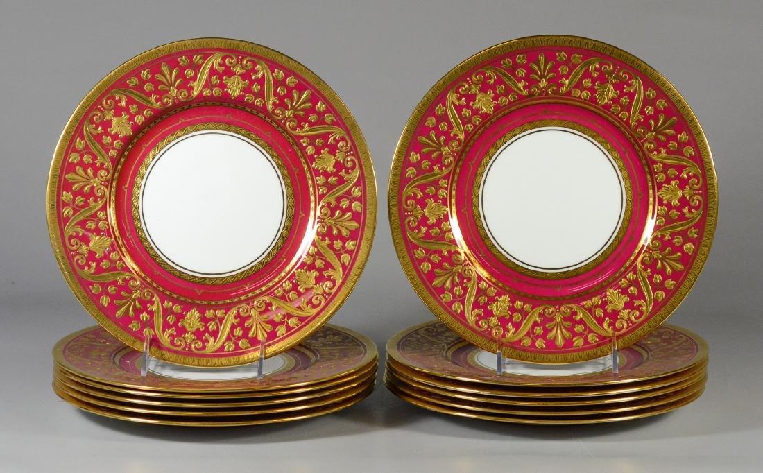 12 Mintons porcelain dinner plates, Pattern AS H4608