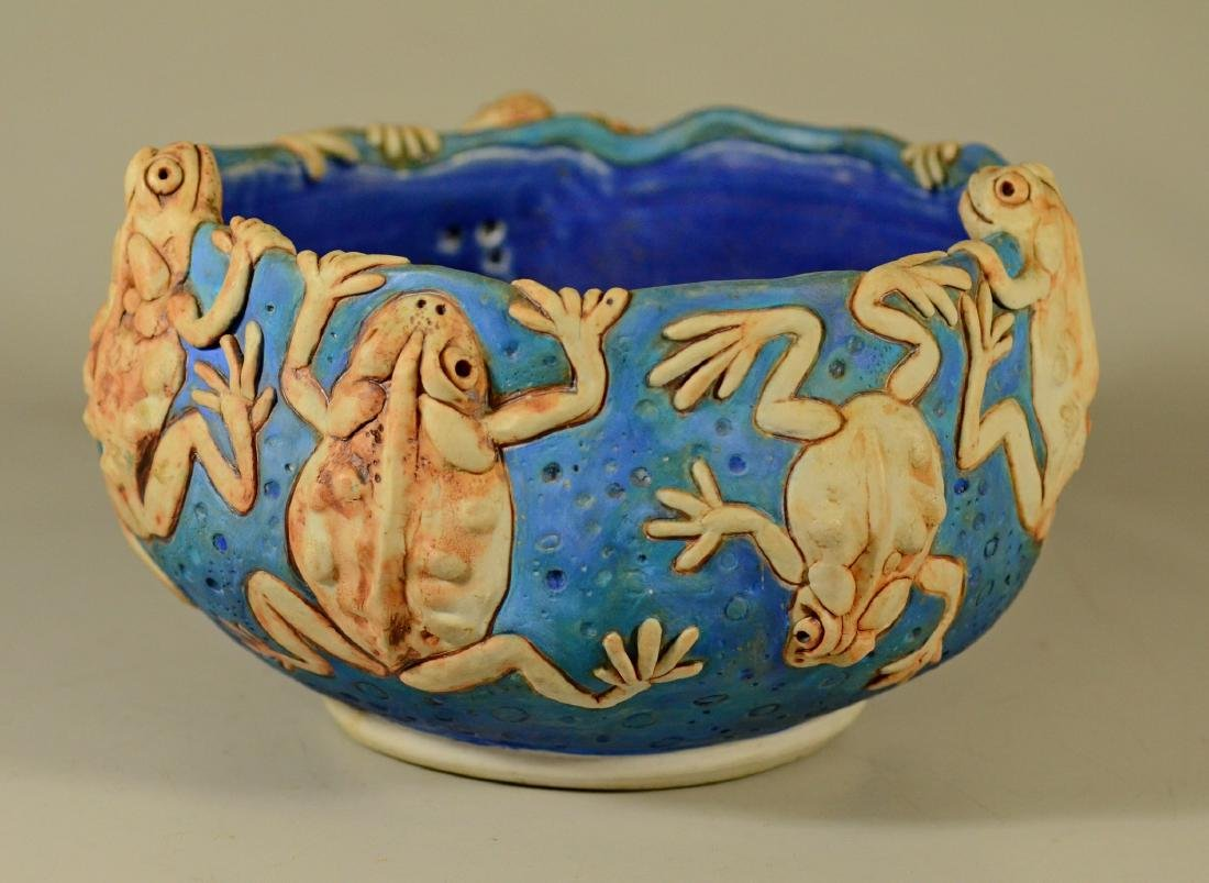 Mary Coover hand made pottery bowl with frogs