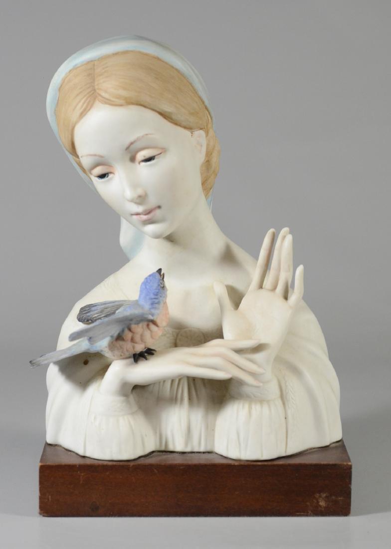 Cybis bisque porcelain Madonna & bird bust figurine