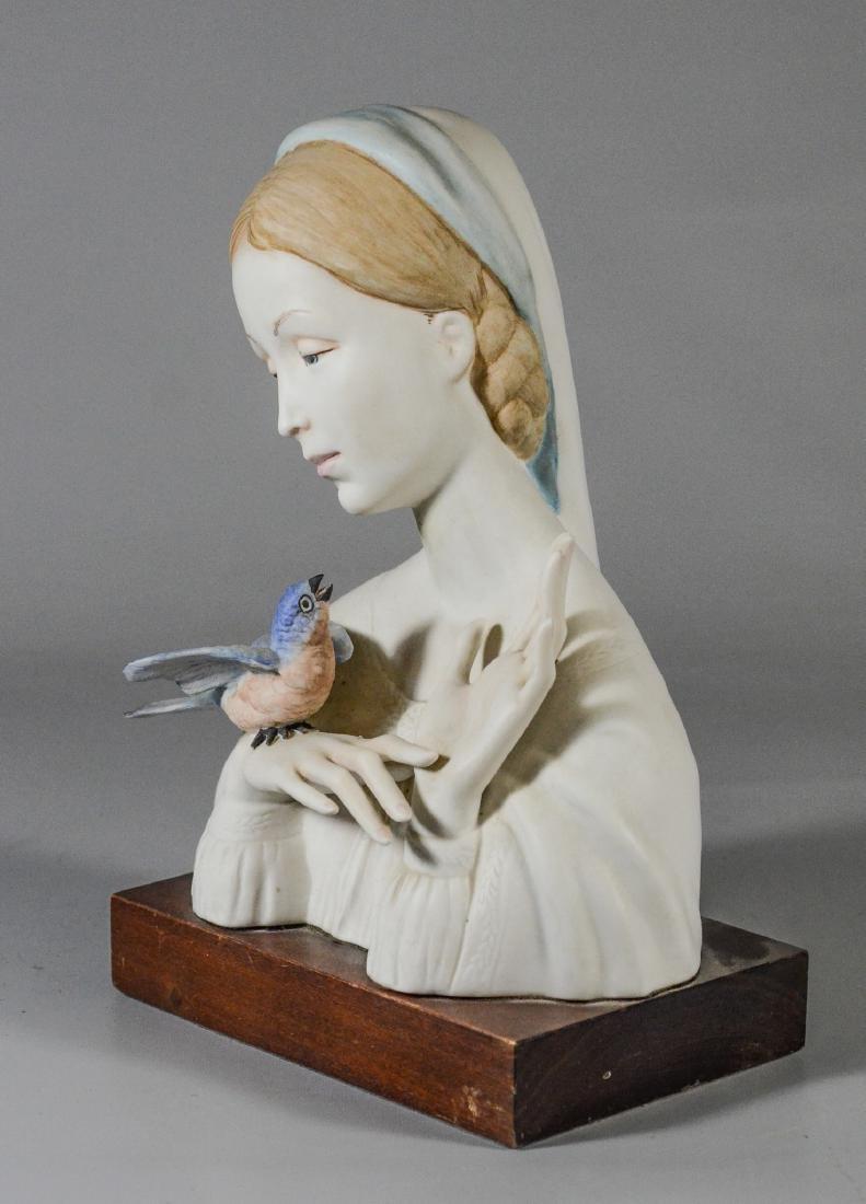 Cybis bisque porcelain Madonna & bird bust figurine - 2