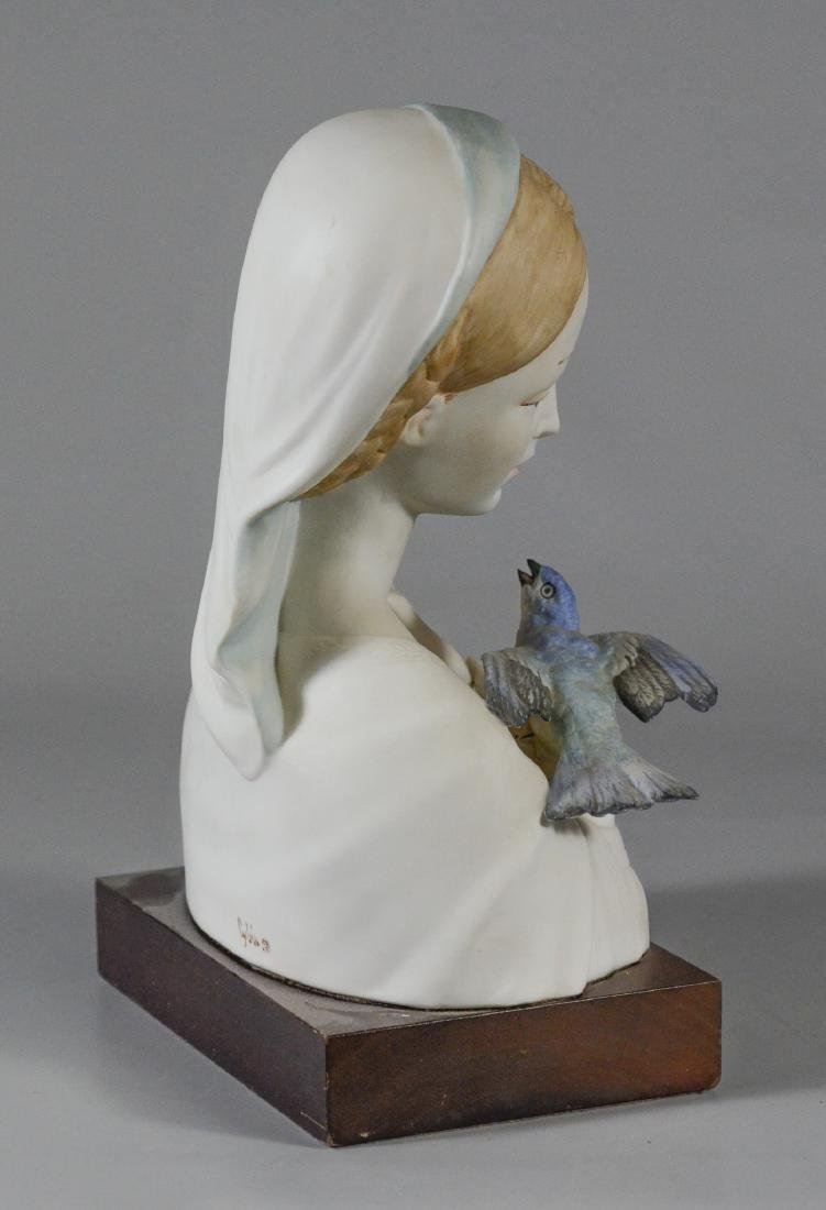 Cybis bisque porcelain Madonna & bird bust figurine - 5