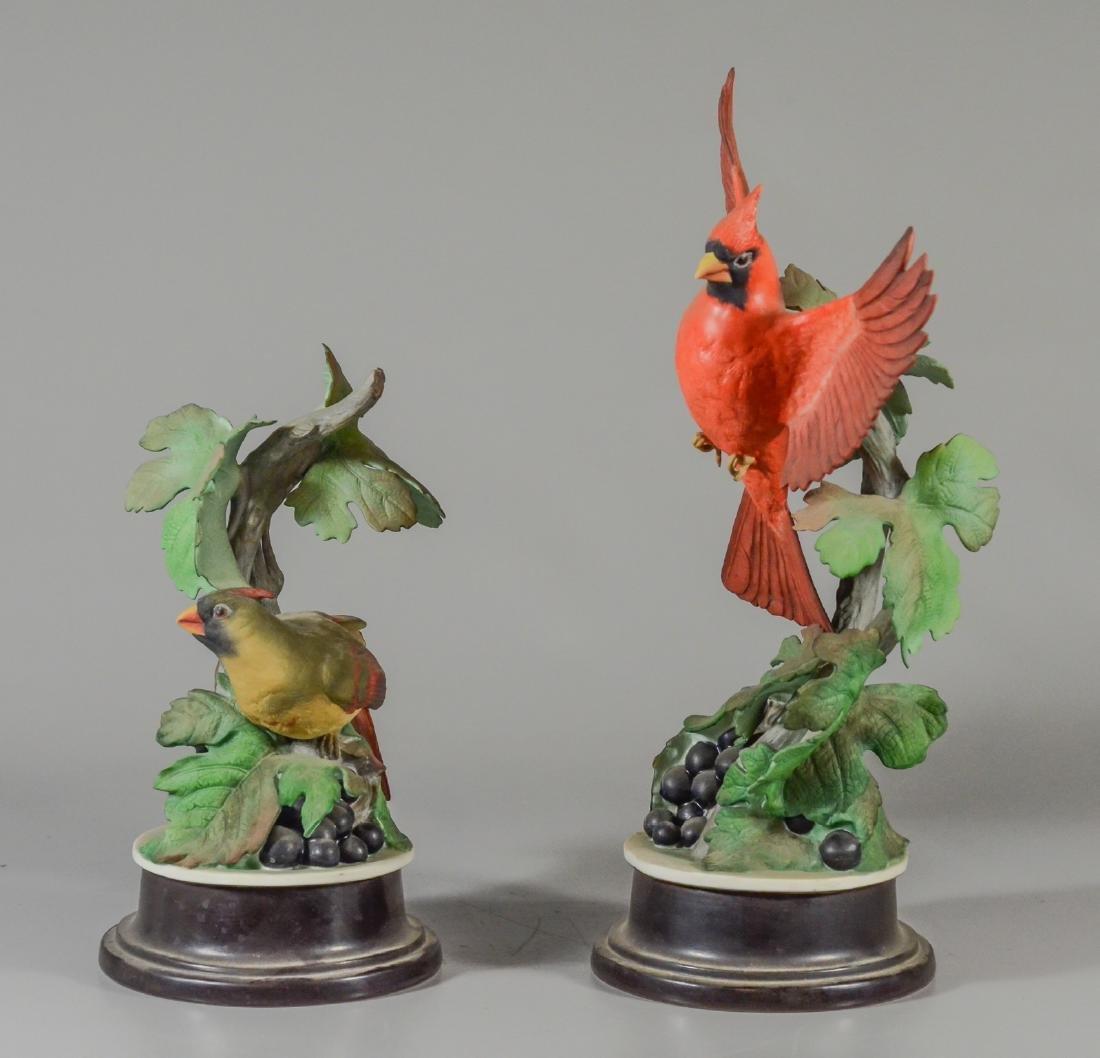 2 Boehm porcelain Cardinal bird figurines