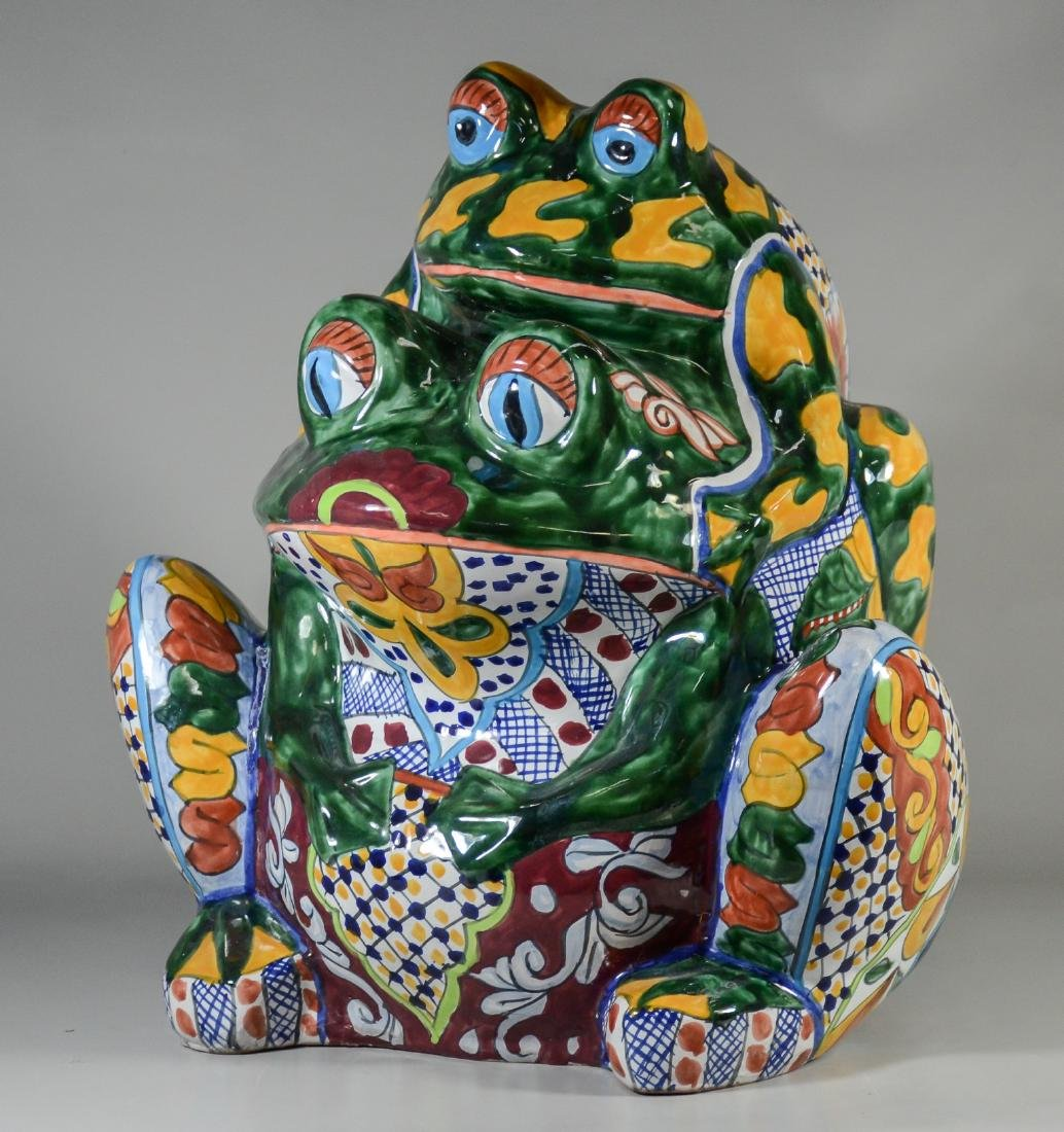 Ceramic hand painted decorated frog planter