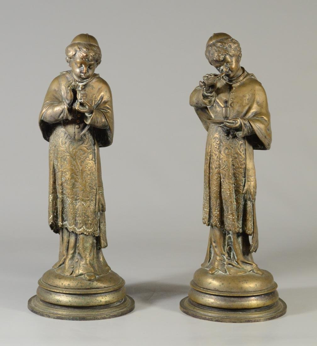 2 Bronze priest sculptures, signed A Lalouette
