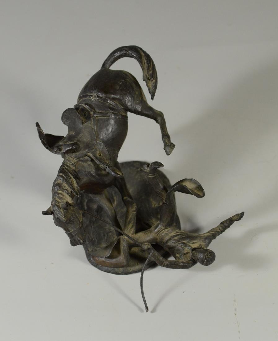 Grant Speed bronze horse and cowboy sculpture